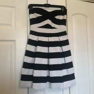 Black and white bandage fit and flare party dress
